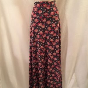 LULAROE Maxi Gray Red Floral Long Skirt